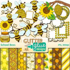 School Bees Clip Art: Buzz back to school in quick formation with this buzzing pack of school bee clipart. Design your hallway bulletin board with a student's name on each bee. Create literacy centers for your busy kindergarten students.