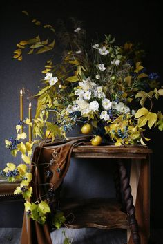 Dahlias, Porcelain vine, Persimmons, Forget-me-not, moody winter flowers