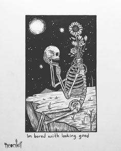 """I'm bored with looking good"" Maybe I am better than my reflection . Micron fineliner and Bimoji brush pen on Bristol board (with Gelly Roll pen for stars) . Arte Dope, Skeleton Art, Skeleton Drawings, Dark Drawings, Bristol Board, Sad Art, Arte Horror, Skull Art, Oeuvre D'art"