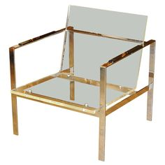 brass & lucite chair