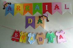 Varal De Roupinhas De Bebê junino para festa infantil ou Chá de Bebê no tema Festa Junina! Dica para as gestantes e mamães de bebês!