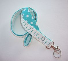 Lace Lanyard  ID Badge Holder  Lobster clasp and key by Laa766  preppy / fabric / cute / patterns / key chain / office, nurse, student id, badge / key leash / gifts / key ring