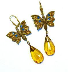 Vintage Czech Glass Earrings Art Nouveau Jewelry Rhinestone Butterfly Authentic Bohemian 1920s to 30s