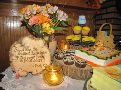 Minus the Winnie the Pooh, love the words written on the trunk ----- TableScape for Winnie the Pooh Baby Shower