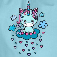 Nubes de unicornio lindas corazón, kawaii, anime, manga Bolsas y mochilas - Mochila saco