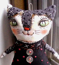 Original art Stitched Kitty Doll, folk art,  funny, whimsical  OOAK by miliaart via Etsy