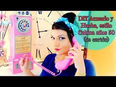 Tutorial armario-hucha de cartón estilo cabina telefónica años 50 - YouTube
