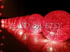 20 RED cotton balls string lights for by cottonballlightdream