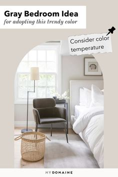 One gray bedroom idea to keep in mind is to consider color temperature. For a cozy, more inviting space, go with warm gray tones. For a fresh and calm feeling, go with cooler gray tones. Gray Bedroom, Bedroom Colors, Gallon Of Paint, Big Bedrooms, Leather Furniture, Warm Grey, Other Rooms, Trendy Colors, Accent Colors