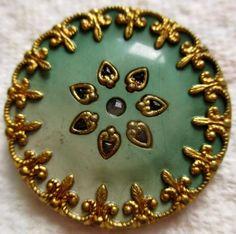 Gorgeous LARGE Antique Victorian Metal & Celluloid Jewel  BUTTON Ornate Brass Rim $51.00