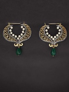 Golden  Filigree Earring with Pearl, White Stone and Green Drop online