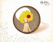 Bague Cabochon • Petite fille dans la nature • fleurs jardin : Bague par bykloe