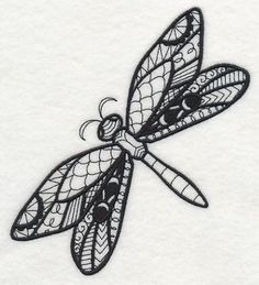 Flight of the Dragonfly (Blackwork) design (M4030) from www.Emblibrary.com