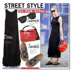 """""""Street Style-Pernille Teisbaek in H&M dress"""" by kusja ❤ liked on Polyvore featuring H&M, Loewe, J.Crew, StreetStyle, BloggerStyle, HM and PernilleTeisbaek"""