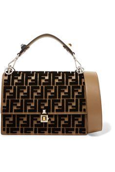 Brown Kan I Flocked Leather Shoulder Bag Fendi Fendi Fendi Bags Bags Designer