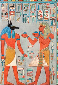 The King with Anubis, Tomb of Haremhab Lancelot Crane, Graphic Expedition of the… Anubis, Ancient Egypt Art, Ancient History, Art History, History Facts, Egyptian Symbols, Egyptian Art, Valley Of The Kings, Gods And Goddesses