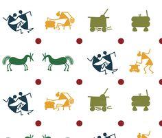 tribal village figures fabric by warliart on Spoonflower - custom fabric