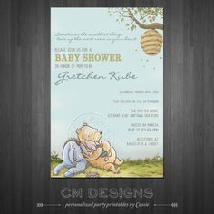 Classic Winnie The Pooh Baby Shower Invite by DesignsbyCassieCM, $12.99
