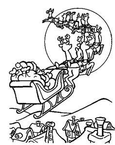 Coloriage noël - Traineaux_de_noël Le traineau vers la lune