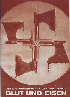 8 de Marzo de 1934. Lo que Heartfield debió haber querido transmitir era que lo que en verdad se ocultaba detrás de una supuesta forma de pensar (el nazismo) era la muerte, por este motivo heartfield hace la esvástica pero con hachas, queriendo decir que lo que en verdad representa al nazismo es la muerte y el dolor