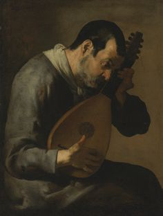 The Master of the Annunciation to the Shepherds (active c.1620-1640), 'The sense of hearing: A man playing a lute', Oil on canvas, 104.6x79.2 cm