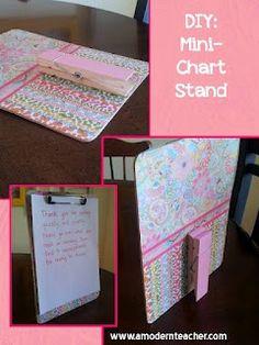 Classroom DIY:  Mini-Chart Stand  http://www.classroomdiy.com/2012/08/diy-mini-chart-stand.html