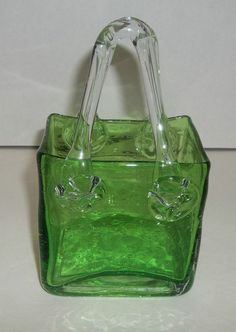 Green Art Glass Purse Handbag Vase Design Hand Blown Pontil Smooth