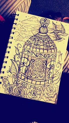 Bird cage! Leaves roses and swirls  birds and clouds !  #birdcage #loveswirls #roses #birds #clouds #tattooideas