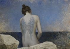 blue - woman - wings - tattoo -  António Macedo - figurative - painting