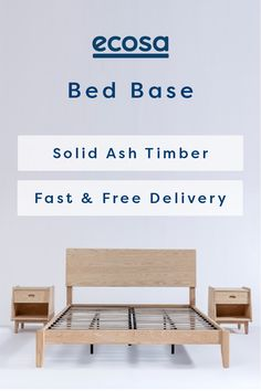 The Ecosa Bed Base's simple and stylish design creates a timeless minimalist feel to any bedroom. Constructed from solid American ash, it can be assembled using no tools at all. Timber Bed Frames, Timber Beds, Small Room Bedroom, Home Bedroom, Bedroom Decor, Bedrooms, Loft Beds For Teens, Lit Simple, Bed Slats