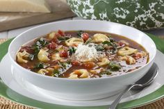 Homemade soup that's this hearty is simply irresistible! Between the rich tomato broth and the cheese-filled pasta it's hard not to fall in love with Mama Mia's Tortellini Soup. So, grab your favorite bowl and your soup spoon, 'cause this soup recipe is sure to please!