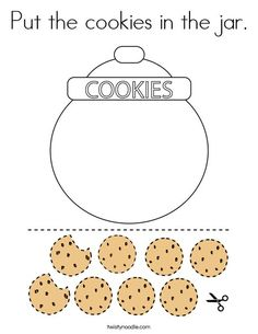 Put the cookies in the jar Coloring Page - Twisty Noodle
