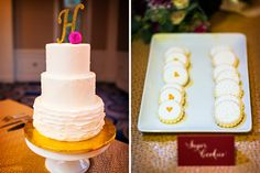 Bright Fuchsia and Gold Wedding at Westfields Marriott | Real Weddings | Washingtonian Bride & Groom  ruffle cake, three tiered wedding cake, gold cake topper, monogram cake topper, dahlia, pink wedding, berry wedding, cookies, monogram cookies, sugar cookie favors, wedding favors, wedding cake, textured cake, layered cake, amphora bakery, west fields marriott kurstin roe photography, b floral design, roberts and co events