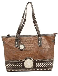 Western Purses Nocona Brown Faux Gator Round Concho Silver Studs