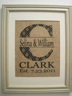 Personalized Burlap Monogram Burlap Printwedding by SunBeamSigns, $21.00