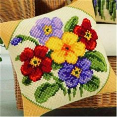Cross Stitch Pillow Mat Diy Craft Flower 42Cm By 42Cm Latch Hook Kit Needlework Crocheting Cushion Embroidery