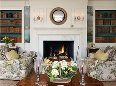 The Colors of a Sunny Winter Day:  title of an entry describing a living room designed by Larry Hooke which is the perfect spot to curl up on a cold winter day.