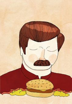 """you had me at meat tornado""   Ron Swanson print I bought for my sister by etsy shop nanlawson"