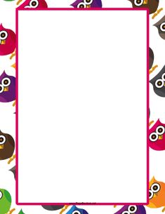 Pretty owls are angled in a whole variety of colors across the background of this printable animal border. Free to download and print.