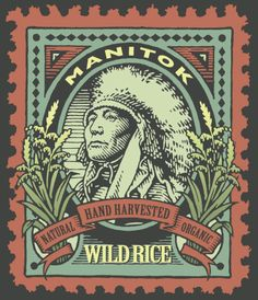 Packaging illustration I produced for an organic product, produced and hand harvested by a northern Minnesota Native American tribe. Based on an old postage stamp.