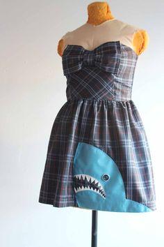 plaid party dress with an applique shark - small / medium prom dress - retro rocker party frock - make every week shark week. $42.00, via Etsy.