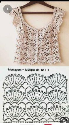 20 Lindos Modelos De Blusa De Crochê ⋆ De Frente Para O Mar Kleidunghäkeln - Responsive - Diy Crafts - DIY & Crafts Blouse Au Crochet, Débardeurs Au Crochet, Gilet Crochet, Mode Crochet, Crochet Cardigan Pattern, Crochet Shirt, Crochet Jacket, Crochet Diagram, Crochet Woman