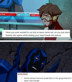 Time and Space Dc Memes, Funny Memes, Funny Dad, Hilarious, Young Justice League, Young Justice Funny, Robin Dc, Superhero Memes, Blue Beetle