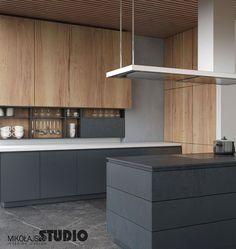 Modern kitchen: kitchen of mikolajskastudio, modern - küche - Design Luxury Kitchen Design, Best Kitchen Designs, Luxury Kitchens, Interior Design Kitchen, Cool Kitchens, Living Room Kitchen, Home Decor Kitchen, Kitchen Furniture, Kitchen Modern