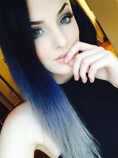 Blue ombre hair color for black hair, amazing nice look~ Love it  so much