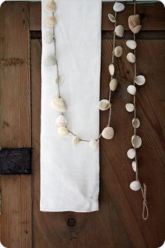shell garland, now i know what to do with all the shells i collect from Mt Maunganui, Eastern Beach and Kohimarama. @Dagmar Bleasdale Dyck, a project idea for your kids. @Hiria Ropiana Toimata, you too. x
