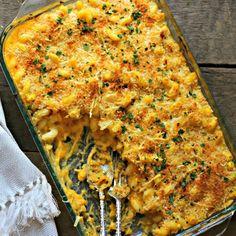Ooey, gooey mac & cheese made with butternut squash, gruyere and Greek yogurt.  Perfect fall comfort food!