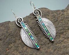 Sterling silver long dangle earrings abstract modern iridescent green leaf earrings with inlaid polymer clay