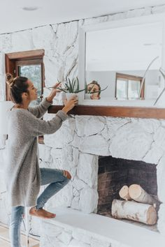 Family Room Makeover With All Modern Stone Decorationstone Fireplace Decor White