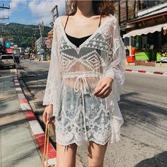 Dress Outfits, Casual Outfits, Dresses, Bikini Cover Up, Different Fabrics, Women Swimsuits, White Lace, Bikinis, Clothes